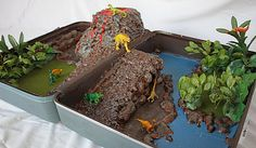 Dino Playscape out of an old suitcase- Used Creat Stuff insulating foam sealant