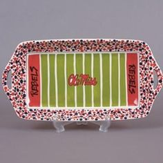 "Football Platter! One of our favorite piece! Make the ""crowd"" with q-tip dots!"