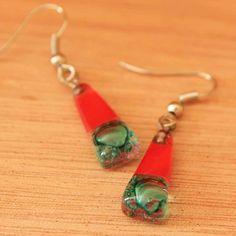 Fused Glass Earrings Statement Earrings door ArtisansintheAndes