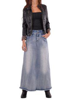 """Skirt details: * floor length 38.5"""" * regular fit * stretch brushed mid-weight blue denim * five pockets styling * front zipper & belt loops * ripped & fringe hem design * A-line style long skirt * 80"""
