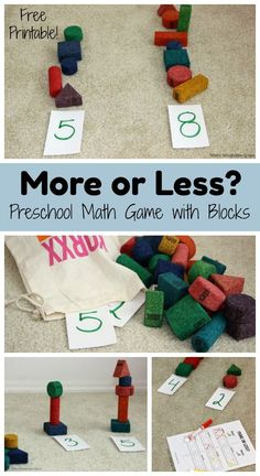 More or less? A simple preschool math game with blocks! Hands-on learning that helps toddlers and preschoolers learn to count, one-to-one correspondence, simple adding, and more! Includes free printable sheet! All you need is a pen and blocks! Easy setup but hours of fun and learning!  #kidsactivities #preschoolmath #preschool #simplemath #preschoolathome