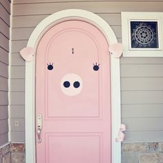 I couldn't resist making my mom's pink door look like a pig. (previous pinner)