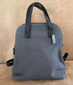 Coach Steel Gray Backpack canvas & leather purse tote bag 7404 #Coach #BackpackStyle