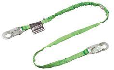 """Miller by Honeywell 231TWRS-Z7/6FTGN 6' Manyard HP Polyester Web Twin-Leg Shock-Absorbing Lanyard With (1) Locking Snap Hook And (2) 2 1/2"""" Locking Rebar Hooks"""