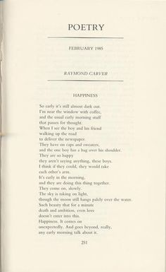 Raymond Carver, Happiness