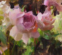 "Portion of ""English Roses and Hydrangeas"" by @danielkeys | Sold | Montanagallery.net  #danielkeys #englishroses #montanagallery"