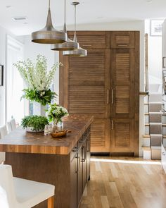 Venegas and Company - kitchens - Mason Wide Hammered Iron Pendant, stained maple cabinets