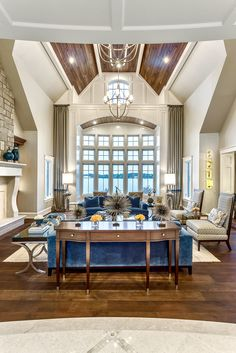 Designed By Chatham House Interiors Kali Elegant Great Room With Royal Blue Details