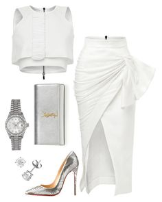 A fashion look from September 2015 by featuring Maticevski, Christian Louboutin, Yves Saint Laurent and Rolex Swag Outfits, Classy Outfits, Chic Outfits, Fashion Outfits, Womens Fashion, Fashion Trends, Fashion Fashion, All White Party Outfits, All White Outfit