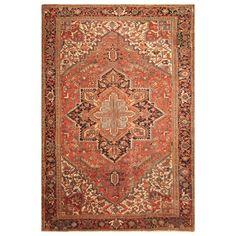 Handmade Herat Oriental Persian Hand-Knotted Tribal Antique Heriz 1920's Wool Rug (9'2 x 12') (Handmade Persian Tribal Antique Heriz Wool Rug), Red, Size 9'2 x 12'