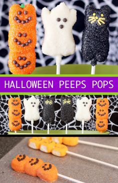 Halloween Peeps Pops. These would be so cute for a Halloween party!