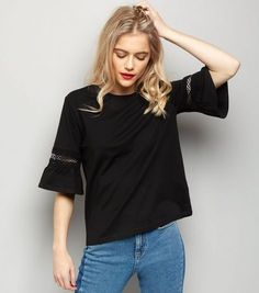 Black Cut Out Frill Sleeve T-Shirt  | New Look