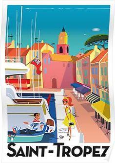 Saint-Tropez vintage travel poster by Richard Zielenkiewicz. Old Poster, Retro Poster, Saint Tropez, Vintage Travel Posters, Vintage Postcards, Vintage Advertisements, Vintage Ads, Vintage Style, Tourism Poster