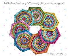 Bebilderte Schritt-für Schritt-Anleitung für sechseckige Granny Squares (Hexagon) im bunten Mustermix.