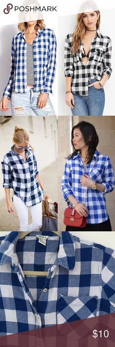 """F21 Plaid Flannels Forever 21 gingham flannels. One in bright blue and white, other in faded black and white. Price is for individual item. Will bundle both for $16. Front pocket. My favorite way to wear this was tied around my waist to give myself some shape while wearing a loose graphic tee. 99% Cotton. 1% Elastane. Bust: 35"""" Shoulder: 14"""" Sleeve 23"""" Length: 24.5"""" Tags: F21, plaid, button-up Forever 21 Tops Button Down Shirts"""