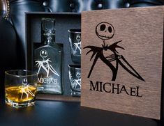 The Nightmare Before Christmas whiskey glasses. Whiskey Decanter, Whiskey Glasses, Whiskey Gift Set, Christmas Tale, Gift Card Boxes, Card Box Wedding, Glass Boxes, Light Oak, Crystal Wedding