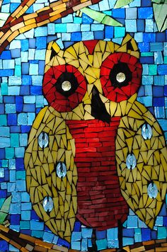 Small Stained Glass Mosaic Owl