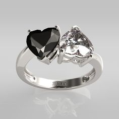 """""""Never Apart"""" Black & White Heart Cut Rhodium Plated Sterling Silver Women's Ring"""