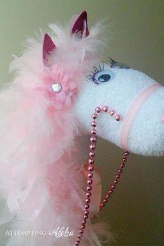 Dress up a plain stick horse and make it girly--DIY