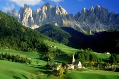 Alps Forests Grass Green Hills Italy Landscapes Light Blue Mountains Nature Summer Trees Val Villages White