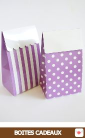 Boîtes cadeaux surprise anniversaire pois rayures rayees violet #Halloween #Party #SweetTables