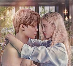 Jimin Fanart, Kpop Fanart, Kpop Couples, Cute Couples, Bts Girlfriends, Bts Kiss, 17 Kpop, Taehyung, Love Background Images