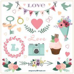 Descarga gratis vectores de Accesorios de boda y ornamentos dibujados a mano