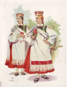 Latvian folk costume, Barta region.