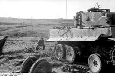 A wounded Panzer Tiger. The track was completely blown off!!