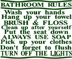 Items similar to Bathroom Rules - Wall Decal - Vinyl Wall Decals, Wall Decor, Wall Quotes, Bathroom Wall Decal, Kids Bathroom Decal on Etsy Bathroom Wall Decals, Bathroom Rules, Kids Wall Decals, Wall Decal Sticker, Wall Stickers, Cleanliness Quotes, Preschool Classroom Decor, Cleaning Quotes, House Rules