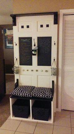 Repurposed Door Into Hall Tree Refurbished Door, Refurbished Furniture, Repurposed Furniture, Decorative Doors, Hall Trees, Repurposed Items, Old Doors, Door Ideas, Mudroom