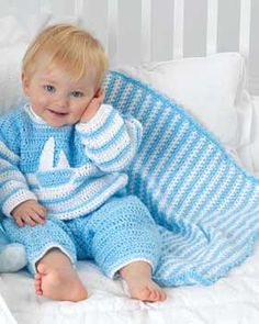 Simple stripes are simply adorable in this blanket crocheted in Bernat Baby Coordinates.