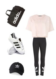 """Adidas"" by courtneybentley ❤ liked on Polyvore featuring adidas"