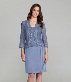 KM Collections Lace Beaded Jacket Dress @ Dillards