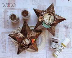 Riikka Kovasin - Paperiliitin: Grungy stars - WOW! Embossing Powder Happy New Week, Embossing Powder, Christmas Stockings, Clock, Stars, Holiday Decor, Mixed Media, Fun, Watch