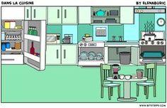 Dans la cuisine. Objets de la cuisine. Image à toucher