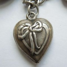 Sterling Silver Puffy Heart Charm - Ribbon Heart