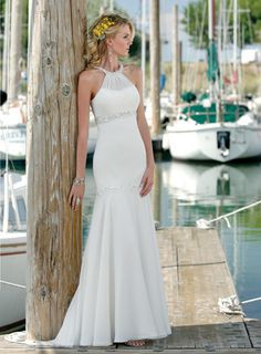 [$160.59] Dramatic Trumpet/Mermaid High Neck Beach Wedding Dresses