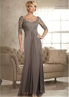 Amazing Chiffon Scoop Neckline Sheath Mother Of The Bride Dress With Lace Appliques