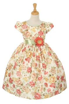 http://childrensdressshop.com/home/12-flower-jaccard-dress-autumn-orange.html?search_query=orange&results=35 This is a very pretty floral garden print on this little spring summer dress. The orange flower says warm, happy, summer afternoons.