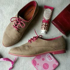 Taupe and pink oxfords Faux suede with pink soles and pink laces. They also come with taupe laces you can swap out.   No trades.  Save even more with a bundle discount! Shoes