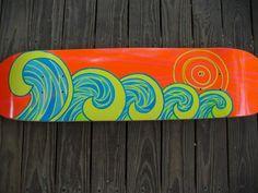 Neon Waves, Endless Summer Custom Skateboard Decks, Custom Skateboards, Waves, Neon, Summer, Summer Time, Neon Colors, Ocean Waves, Beach Waves