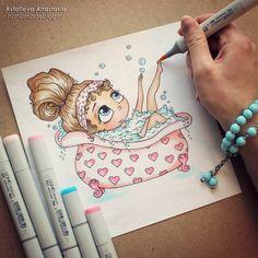 Сегодня нарисовала эту малышку, с удовольствием принимающей ванну, и самой очень захотелось так же... Пойду-ка и я наберу себе ванну и добавлю в нее пену... и побольше, побольше  А какими способами вы расслабляетесь после работы? #АнастасияАстафьева #ручнаяработа #handmade #хэндмэйд #творчество #рисунок #иллюстрации #illustrator #copic #карандаши #AnastasiaAstafieva #девушка #girl #ванна
