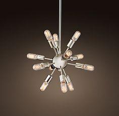 Sputnik Filament Chandelier - Polished Nickel over tub Hallway Light Fixtures, Living Room Light Fixtures, Rustic Light Fixtures, Kitchen Chandelier, Rustic Chandelier, Chandeliers, High Ceiling Lighting, Ceiling Lights, Restoration Hardware