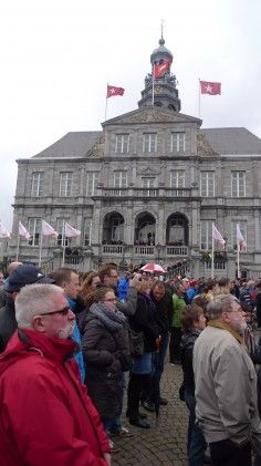 2012 Amstel Gold Race start line gallery - Big crowds gathered in front of Maastricht's town hall for the start. Photo: Andrew Hood