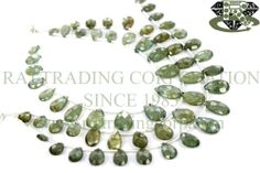 Moss Aquamarine Faceted Pear (Quality A+) Shape: Pear Faceted Length: 18 cm Weight Approx: 6 to 8 Grms. Size Approx: 5x8 to 8x12 mm Price $17.60 Each Strand