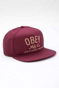 37245a6d13a Obey MFG Snapback Hat Burgunyd Clothing Websites