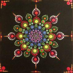 12 x 12 in mandala painting on canvas - Mandala Art, Mandala Canvas, Mandala Rocks, Mandala Painting, Mandala Pattern, Mandala Design, Dot Art Painting, Stone Painting, Painted Rocks