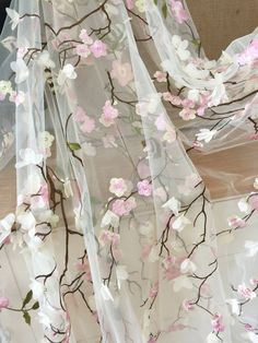 Quality Beautiful Floral Blossom Lace Fabric Soft Tulle for Wedding Dress, Boho Dress, Flower Gi Lace Silk, Lace Fabric, Embroidery Suits, Floral Embroidery, Short Tops For Jeans, Pakistan Wedding, Bedroom Bed Design, 3d Laser, Clothes Crafts