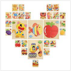 3D Giocattolo Di Puzzle Di Legno Puzzle Per I Bambini Del Fumetto Auto Animali Pesce Frutta Puzzle di Intelligenza Bambini Giocattoli Educativi